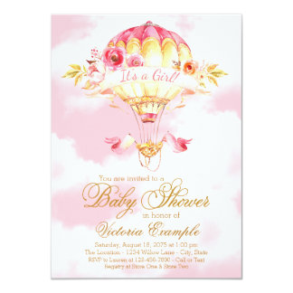 Pink Gold Hot Air Balloon Baby Shower Invitations