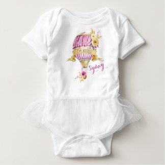 "Pink+Gold Hot Air Balloon ""I've Arrived!"" Baby Bodysuit"