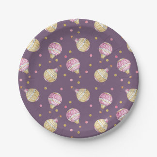 Pink+Gold Hot Air Balloons Baby Shower Paper Plate