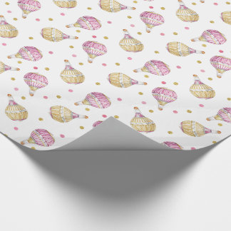 Pink+Gold Hot Air Balloons with dots Wrapping Paper