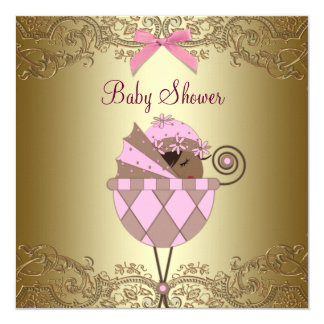 Pink Gold Lace Baby Girl Shower 13 Cm X 13 Cm Square Invitation Card