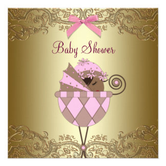 Pink Gold Lace Baby Girl Shower Personalised Invitations