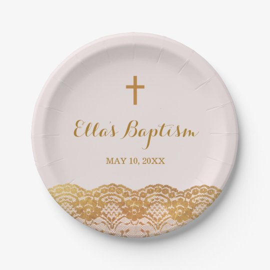 Pink Gold Lace Girl Baptism Paper Plates