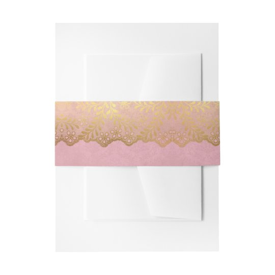 Pink Gold Lace Leaf Pattern Wedding Invitation Belly Band