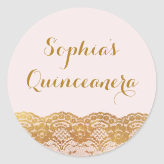 Pink Gold Lace Quinceanera Sticker