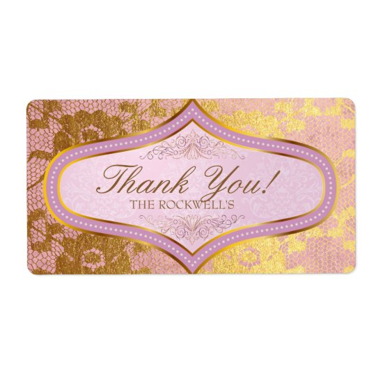 Pink Gold Lace Wedding Label Thank You