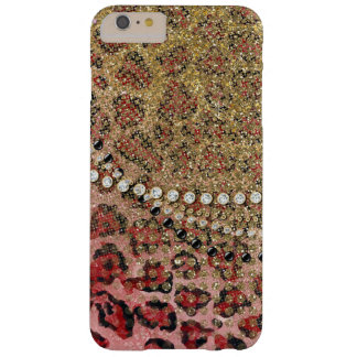 Pink Gold Leopard Animal Print Glitter Look Jewel Barely There iPhone 6 Plus Case