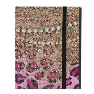Pink Gold Leopard Animal Print Glitter Look Jewel iPad Case