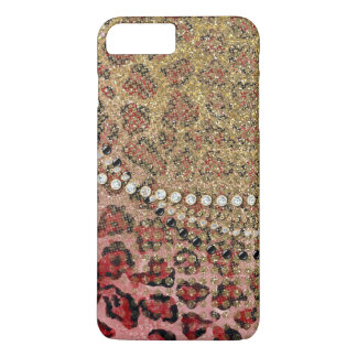 Pink Gold Leopard Animal Print Glitter Look Jewel iPhone 7 Plus Case