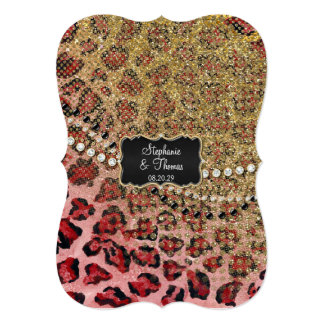 Pink Gold Leopard Animal Print Glitter Wedding Personalized Announcement