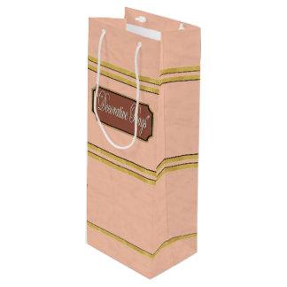 Pink Gold Lines Wine Gift Bag