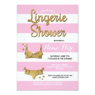 Pink Gold Lingerie Shower Bridal Invitation