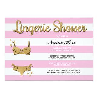 Pink Gold Lingerie Shower Stripe Invitation