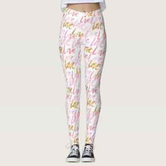 Pink & Gold LOVE Women's Leggings
