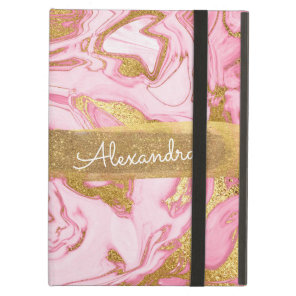 Pink & Gold Marble with Gold Foil and Glitter iPad Air Cover