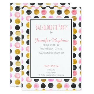 Pink & Gold Paint Polka Dots Party Invitations