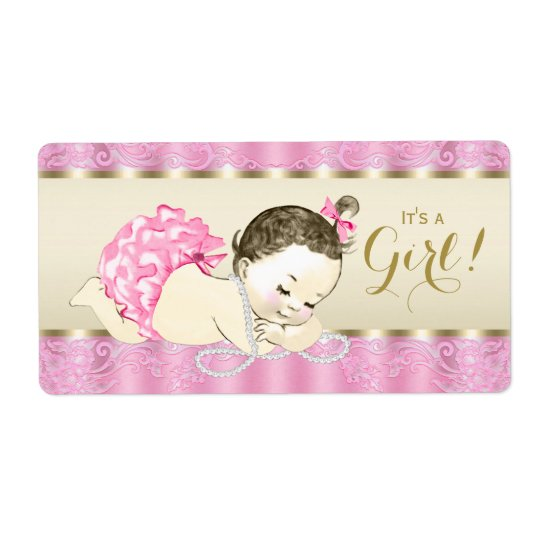 Pink Gold Pearl Baby Shower Water Bottle Labels