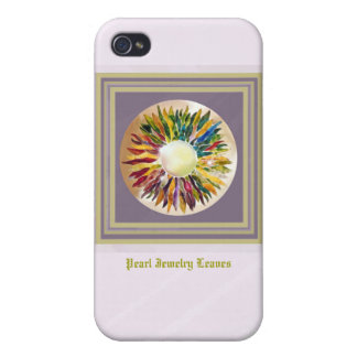 Pink Gold Pearl Leaves Trendy  Cases For iPhone 4