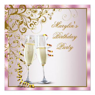 Pink Gold Pearls Pink Gold Womans Birthday Party 13 Cm X 13 Cm Square Invitation Card