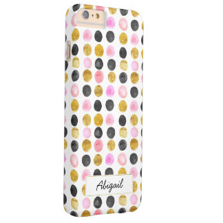 Pink & Gold Polka Dot Monogram Phone Case