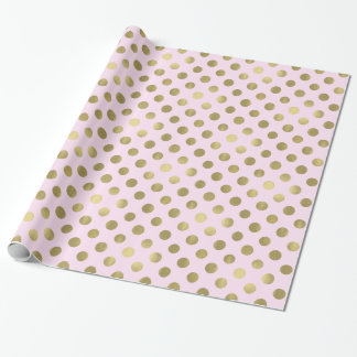 Pink Gold Polka Dot Wrapping Paper