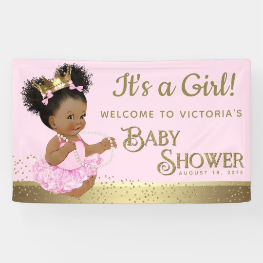 Pink Gold Princess Baby Shower Banners Zazzle Co Uk