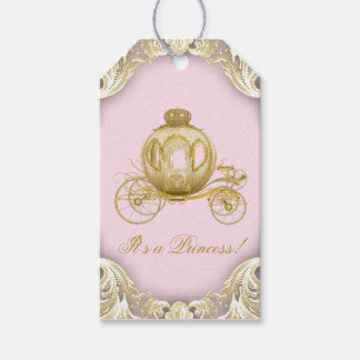 Pink Gold Princess Carriage Baby Shower Gift Tags