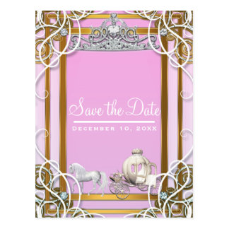 Pink Gold Princess Crown & Carriage Save the Date Postcard