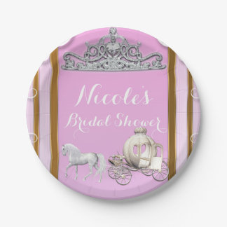 Pink Gold Princess Crown & Carriage Sweet 16 Party Paper Plate