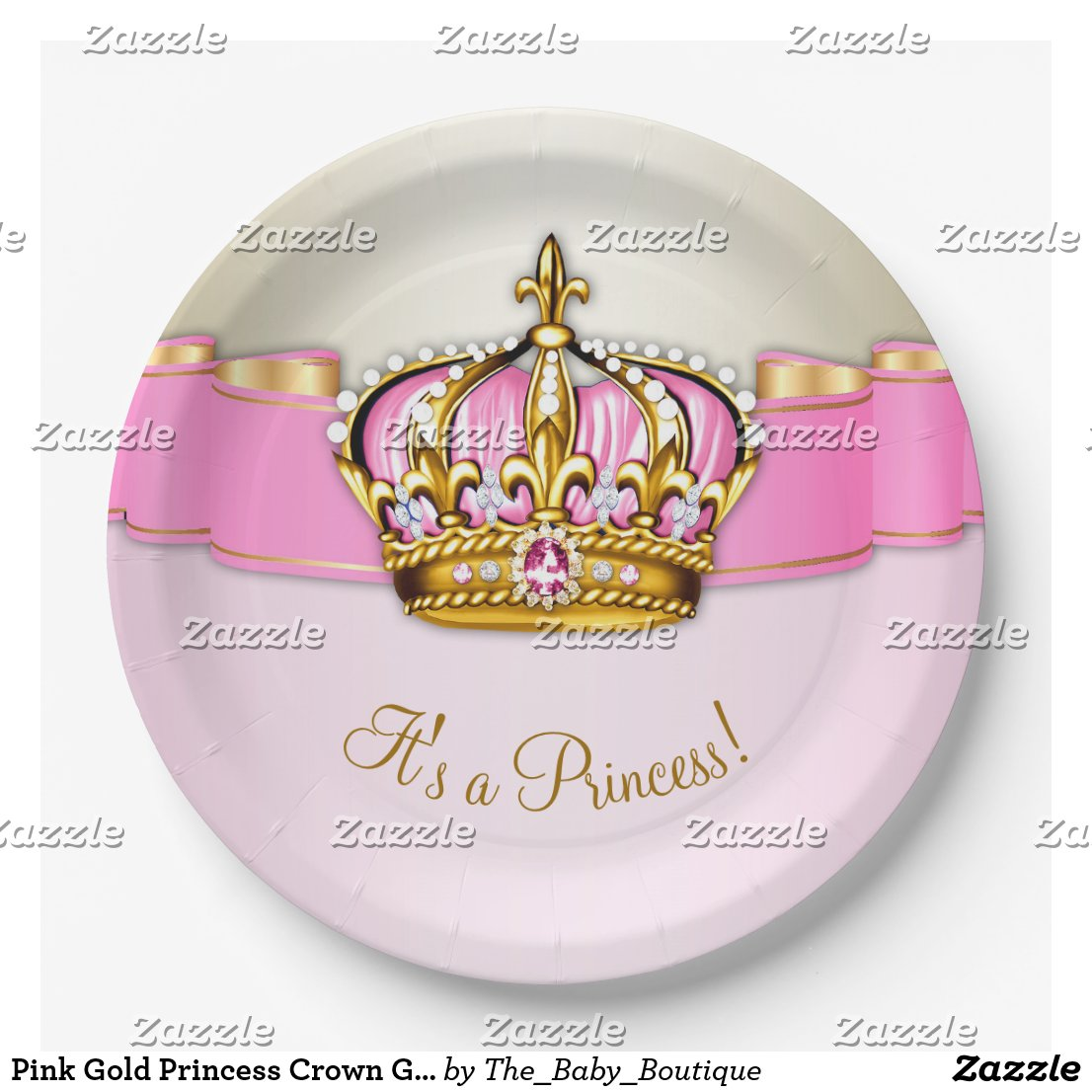 Pink Gold Princess Crown Girl Baby Shower Paper Plate