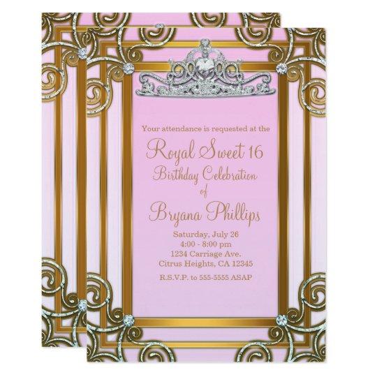 Pink & Gold Princess Crown Tiara Sweet 16