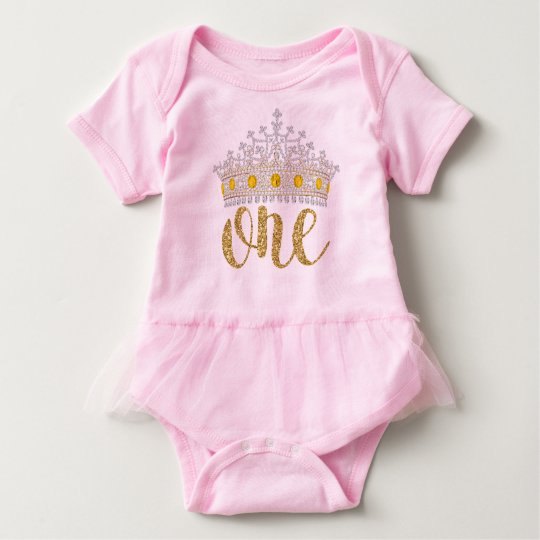 Pink Gold Princess First Birthday Shirts