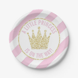 Pink Gold Princess on the Way Baby Shower Crown Paper Plate