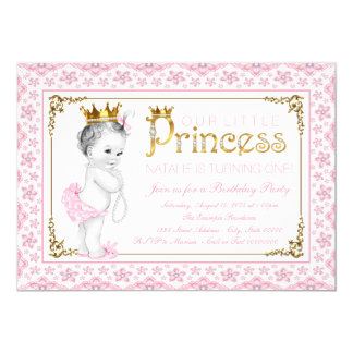 Pink Gold Princess Pearl First Birthday Party Card