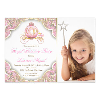 Pink Gold Princess Photo Birthday Party 13 Cm X 18 Cm Invitation Card