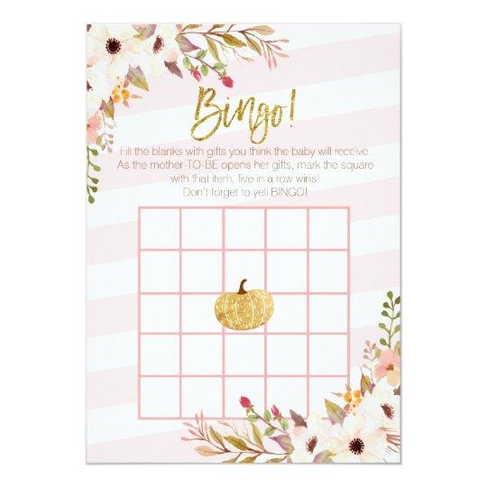 Pink Gold Pumpkin Baby Shower Bingo Games Card