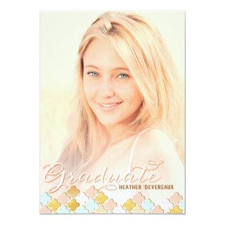 "Pink & Gold Quatrefoil Senior Photo Graduation 5"" X 7"" Invitation Card"