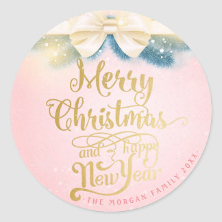 Pink Gold Ribbon Christmas Happy New Year Greeting Classic Round Sticker