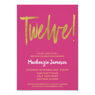 Pink Gold Script 12th Birthday Party Invitation
