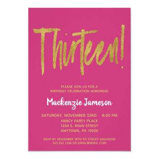 Pink Gold Script 13th Birthday Party Invitation