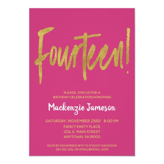 Pink Gold Script 14th Birthday Party Invitation