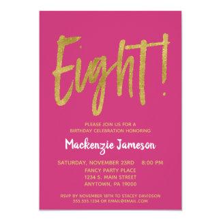 Pink Gold Script 8th Birthday Party Invitation