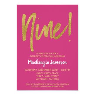 Pink Gold Script 9th Birthday Party Invitation