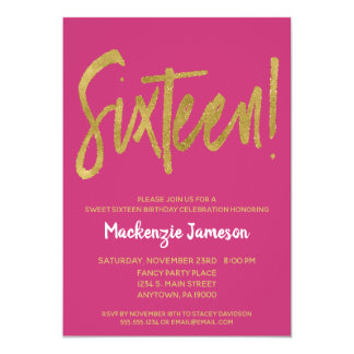 Pink Gold Script Sweet Sixteen Party Invitation