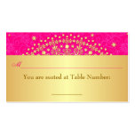 Pink, Gold Scrolls, Stars Wedding Place Card