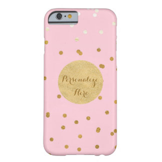 Pink & Gold Shiny Confetti Dots Chic Modern Barely There iPhone 6 Case