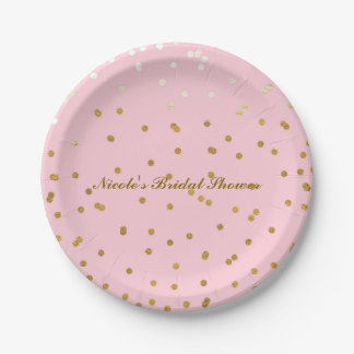 Pink & Gold Shiny Confetti Modern Bridal Shower Paper Plate