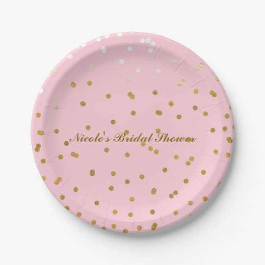 Pink & Gold Shiny Confetti Modern Bridal Shower
