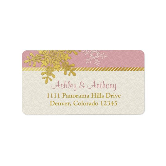 Pink Gold Snowflake Winter Wedding Address Labels