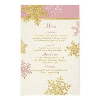 Pink Gold Snowflakes Winter Wedding Menu Card